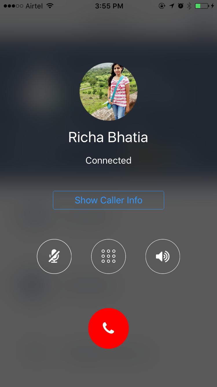 user call screen