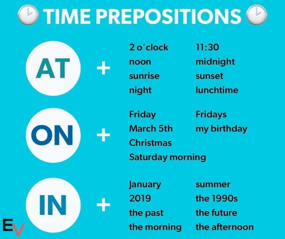 preposition of time in English